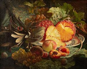 Stilleven met ananas en perziken