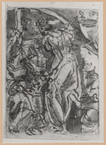 Judith legt het hoofd van Holofernes in een zak die haar dienares ophoudt zak  (Judith 8-16)