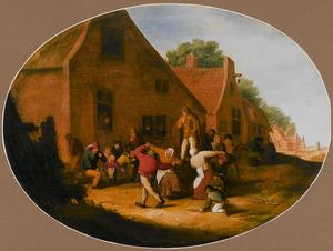 Dansende boeren in een dorpsstraat