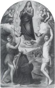 Maria hemelvaart met Johannes de Doper en Sebastiaan