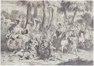 Jagers tonen Amazones twee gedode leeuwen