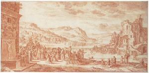 Bergachtig landschap met onbekende Christelijke voorstelling