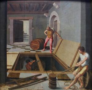 Scène in een wijnkelder