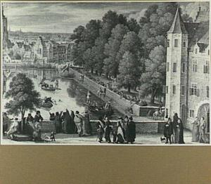 Den Haag, de Hofvijver met steekspel op boten