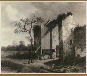 Landschap met veedrijver bij een poort