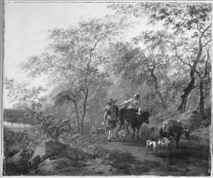 Boslandschap met vrouw op een os, een veedrijver met enkele dieren en een ezel