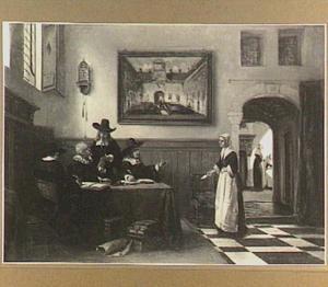Zeventiende-eeuws interieur met figuren
