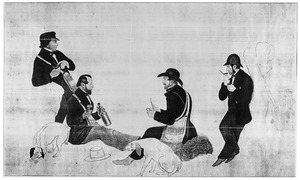 Portret van Willem Adriaan Viruly Verbrugge (1830-1908) en drie andere heren