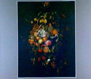 Festoen met vruchten en enkele bloemen