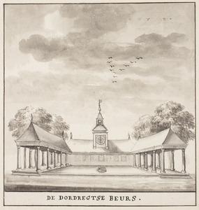 De Beurs met de Vleeshal in Dordrecht gezien vanaf de voormalige Tolbrug