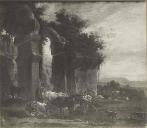 Ossen en herders op het platteland van Rome