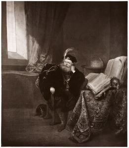Portret van een man aan een tafel met daarop boeken en een gelauwerd doodshoofd in een studeervertrek