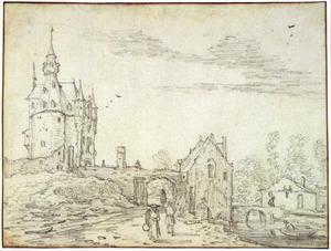 Landschap met kasteel en stadspoort