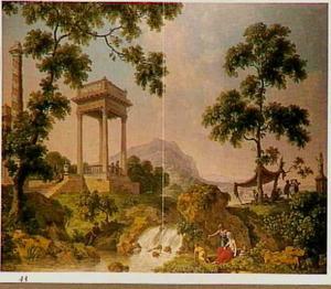 Italianiserend landschap met waterval