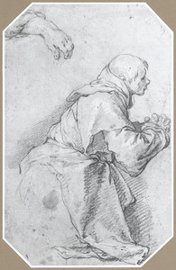 Studie van een monnik en een hand