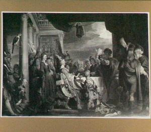 De Longobarden koning Alboin dwingt Rosamunde uit de schedel van haar door hem vermoorde vader te drinken tijdens een feestmaal te Verona