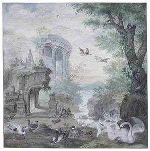 Fantasielandschap met ruines en watervogels