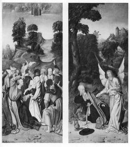 De hemelvaart van Christus (links), De profeet Elia gewekt door een engel op de berg Horeb (I Koningen 19:5-6)