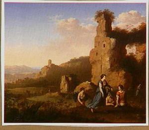 Arcadisch landschap met ruïnes en figuren