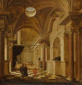 Interieur van een paleis met figuren