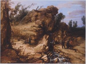 Ruig berglandschap met figuren