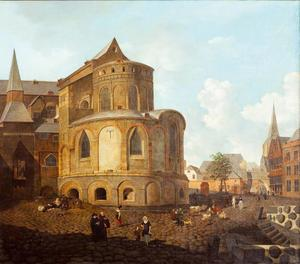Stadsgezicht met de St. Maria im Kapitol van Keulen