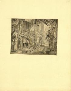 Tronende Alexander de Grote ontvangt een hem geschonken vrouw uit India
