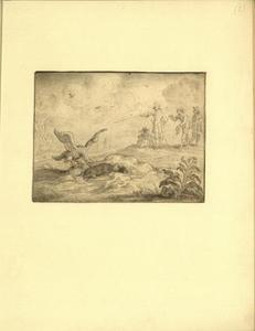 Een mol, kruipend uit zijn hol, wordt door een vogel aangevallen