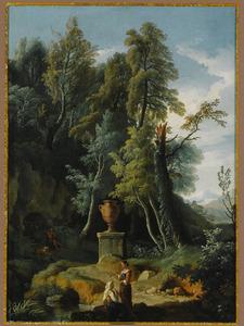 Zuidelijk landschap met twee vrouwen bij een antieke vaas op een voestuk