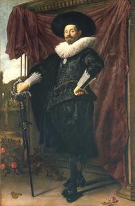 Portret van Willem van Heythuysen (1585-1650), staande ten voeten uit
