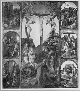 De kruisiging geflankeerd door (van boven naar beneden en van links naar rechts): Christus in de Hof van Olijven, Pilatus wast zijn handen in onschuld, Ecce Homo, de ontmoeting van Christus en de H. Veronica, de bewening en de graflegging