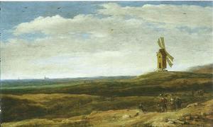 Duinlandschap met reizigers op een landweg bij een molen