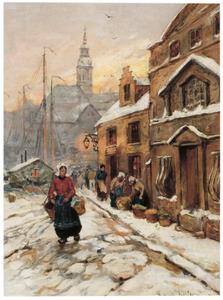 Winterscene met vrouw en koopwaar