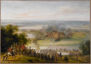 Panoramalandschap met de belegering van een vesting
