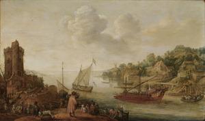 Riviermonding met een galei, figuren op de linkeroever en bebouwing op de rechteroever