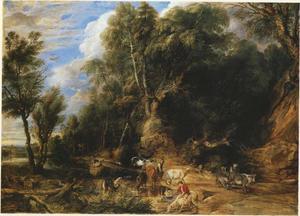Boslandschap met drinkplaats