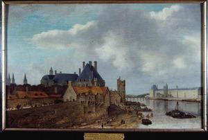 Gezicht op de Seine in Parijs vanuit het oosten, met het Hotel de Nevers en de Grande Galerie du Louvre