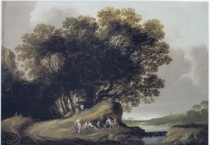 Landschap met nimfen bij een bosrand