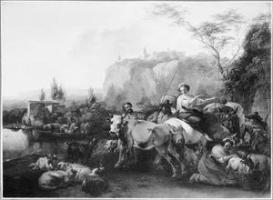 Berglandschap met vee en herders