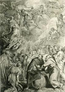 De Heilige Dominicus en de Heilige Franciscus van Assisi beschermen de mensheid tegen de toorn van Christ