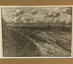Landweg met wolkenlucht