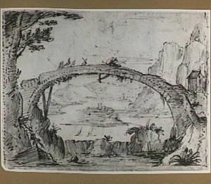 Berglandschap met rivier en stenen brug