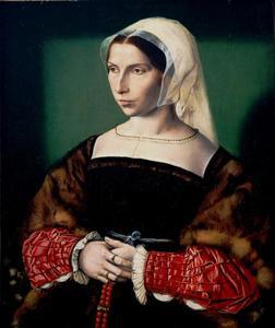 Portret van een vrouw met een rozenkrans