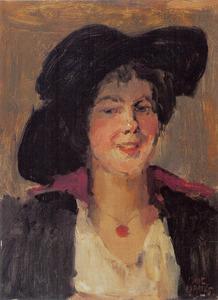 Portret van een vrouw met een zwarte hoed