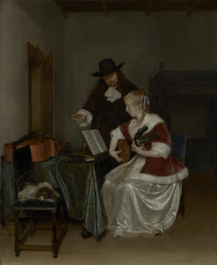 Interieur met luitspelende jonge vrouw en een jongeman die een aanwijzing geeft