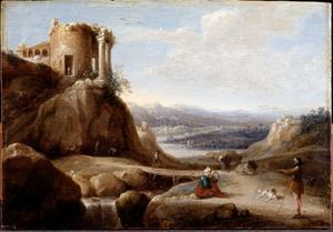 Zuidelijk landschap met ruïne van een tempel