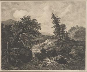 Een landschap met waterval en jagers