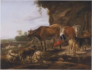 Landschap met rustend vee en een melkende boerin