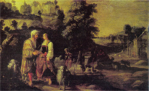 De ontmoeting van Jacob en Rachel bij de bron (Genesis 29: 9-12)