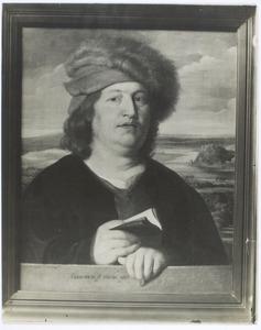 Portret van een man voor een landschap, zogenaamd de arts Paracelsus (1493-1541)